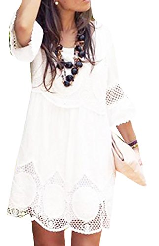 Summer Lace Dress Jaycargogo Plus Size Mini Hollow White Women's Party r8nH78