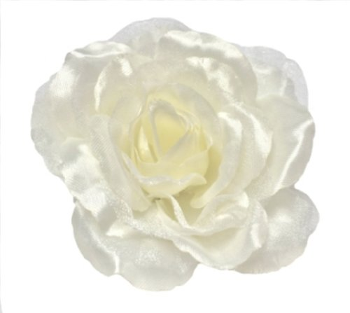 Cuteque International CQA106-IVORY 3-Piece Packed Satin Organza Rose Embellishment, 4-Inch, Ivory