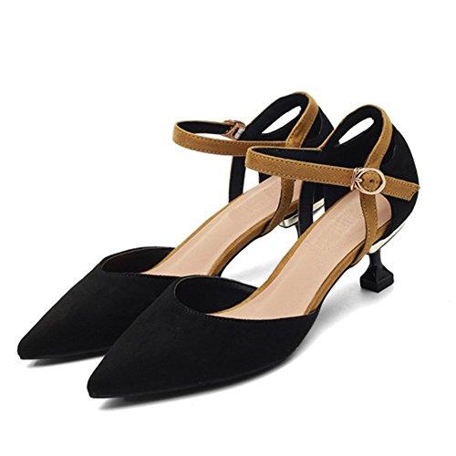 Pointu Haute Bretelles Talons De Noir Ruiren Chaussures Chaton Bal Mariage Mariée Cour Femmes Toe 5Zq5W4Inw