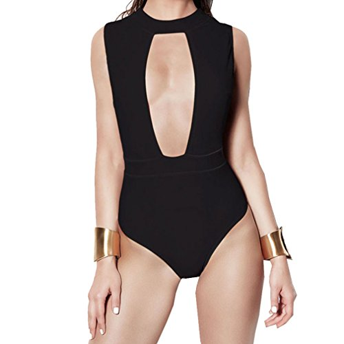 ALICE-X&S Women's One Piece Swimsuit Front Hollow Out Beachwear (Large, Black)