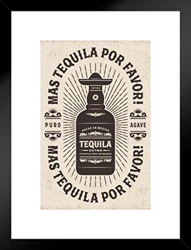 (Poster Foundry Mas Tequila Por Favor More Tequila Please Puro Agave Vintage Retro Typography Matted Framed Wall Art Print 20x26 inch)