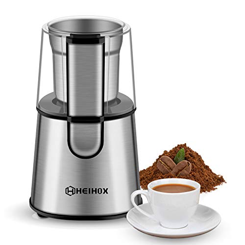 Electric Coffee Grinder – HEIHOX Electric Coffee Bean Grinder, 200W Detachable Spice Grinder with Stainless Steel Bowl…
