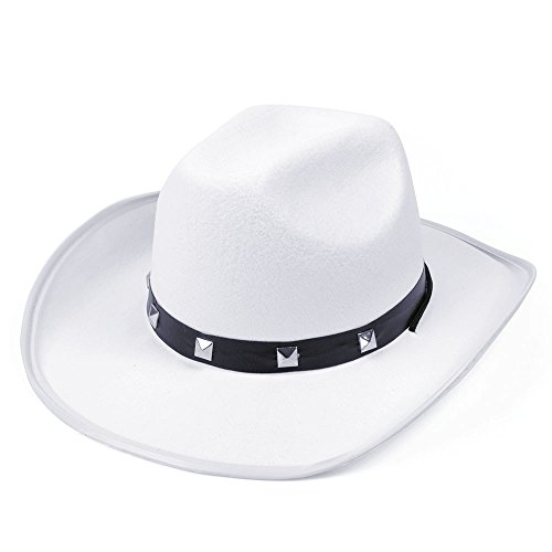 Bristol Novelty BH367C White Felt Cowboy Studded Hat, Unisex-Adult, One Size ()
