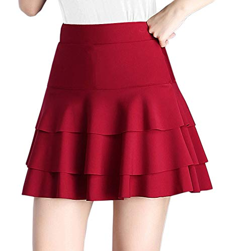 Afibi Stretchy Flared Ruffle Layered Mini Skater Skirts for Women (Small, Wine Red)