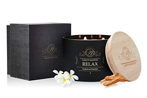 Aubert & Amandine Luxury Scented Soy 3 Wick Candle for Stress Relief & Relaxation High Intensity Aromatherapy (Relax - Sandalwood Jasmine Candle)