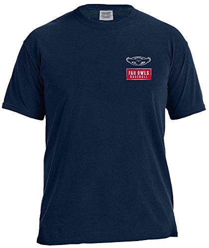 (NCAA Florida Atlantic Owls Vintage Baseball Flag Short Sleeve Comfort Color T-Shirt, Large,TrueNavy)