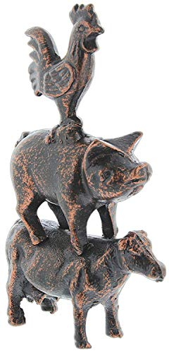 Distinctive Designs Cast Iron Farmhouse Rooster, Pig, Cow Figurine