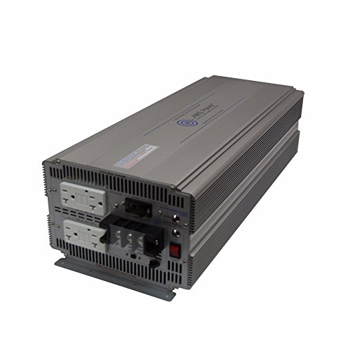 AIMS Power PWRIG500012120S Pure Sine Power Inverter, 5000W Continuous Power, 10000W Surge, 12V DC Input, Pure Sine Wave, 60hz or 50hz Switch, 2-GFCI Dual Outlet