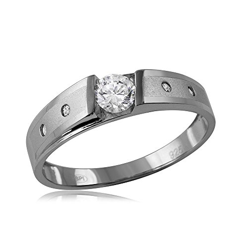 (CloseoutWarehouse Tension Set Cubic Zirconia Center Matte Finish Wedding Ring Rhodium Plated Sterling Silver Size 10)