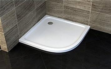 Plato ducha 80 x 80 x 5 semicircular de acrílico reforzado: Amazon ...