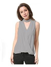 KAIGENINA Women Blouse Chiffon Knit Vest Choker Top Womens Shirts