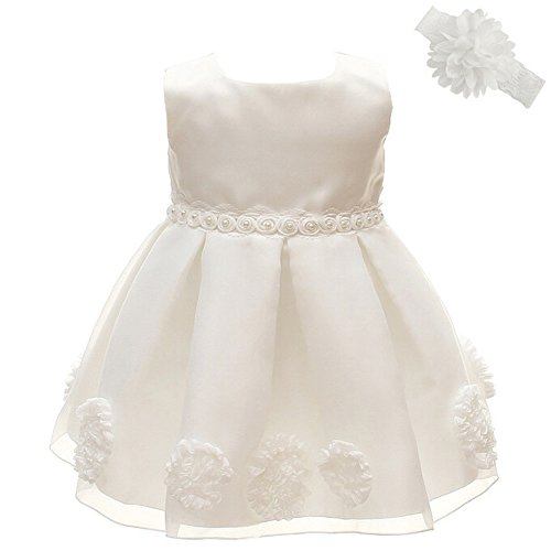 - Coozy Baby Girls Baptism Dress Party Wedding Christening Special Occasions Gown with Headband (6M(5-10months), Ivory)