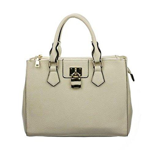 Trendy Solid Color Padlock Handbag Purse (Beige)