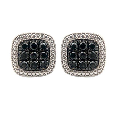 Brand New 1.35 Carat Genuine Black Diamond With Diamond Effect Screw Back Earring, 10k White Gold by Prism Jewel