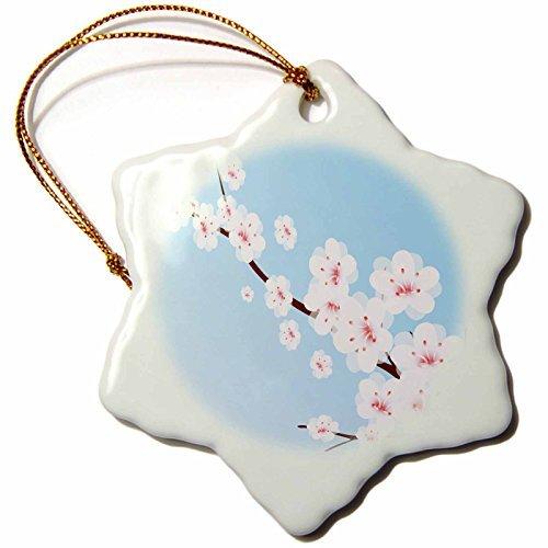 (Christmas Ornament Boehm Graphics Flower - White Cherry Blossoms on a Blue Background - Snowflake Porcelain Ornament)