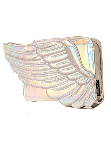 FYDELITY- Angel Wings | Clutch Wallet: SILVER Iridescent | Festival Mavens, Rave