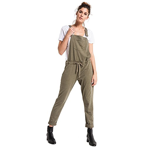 (Z SUPPLY Women's The French Terry Overalls, Olive Night, Large)