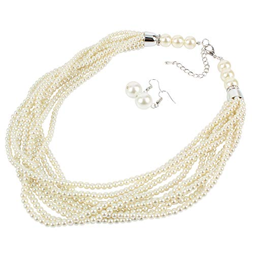 HaHaGirl Faux Glass Pearl Strand Ivory Color Multi Layer Necklaces for - Faux Plastic Necklace