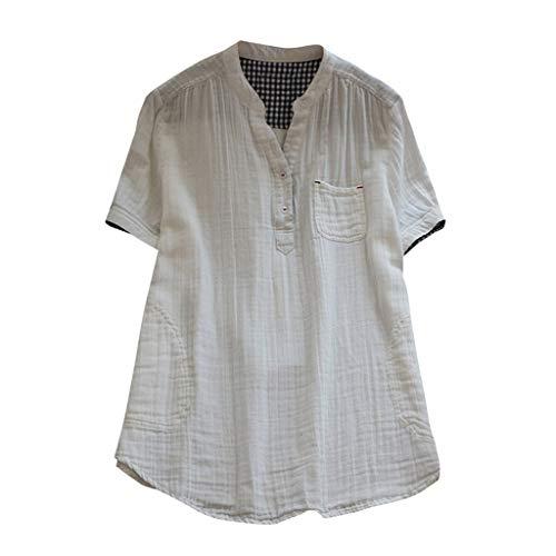 Sunyastor Cotton Linen Shirts for Women,Stand Collar Shorts Sleeve Casual Loose Tunic Tops T Shirt Blouse Cotton Linen Tops White