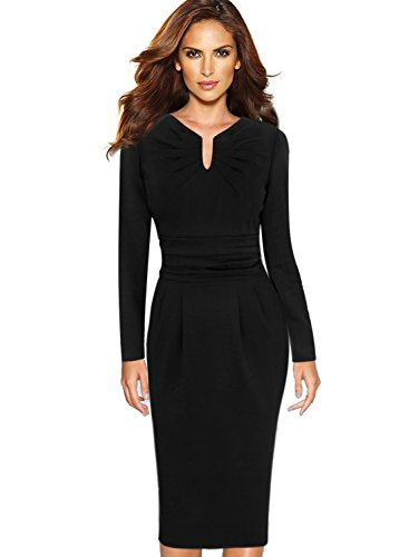 Drape Neck Sheath Dress - 2