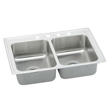 lustertone 43 u0026quot  x 22 u0026quot  double kitchen sink lustertone 43   x 22   double kitchen sink     amazon com  rh   amazon com