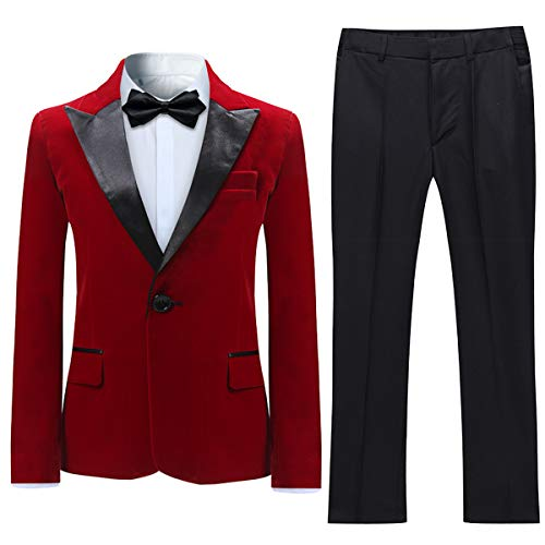 Boyland Boys Tuxedo Suit Velvet Peak Lapel Vintage 2 Pieces Slim Fit Jacket Pants Suit Set Prom Party Red]()