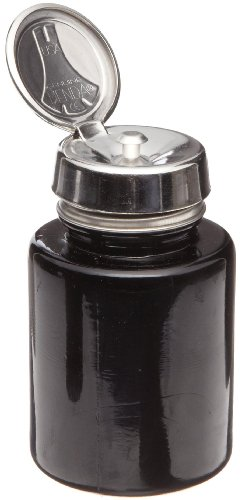 Menda 35386 4 oz Round Black Glass Bottle With Stainless Steel Pure Touch Pump (Menda Pump)