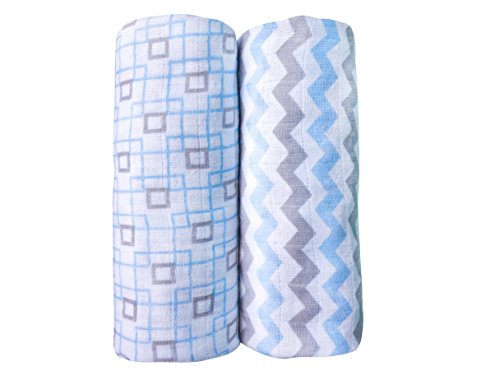 Baby Muslin Swaddle Blankets for Boys 100% Cotton Burp Swaddler Receiving Blankets (2 Pack)