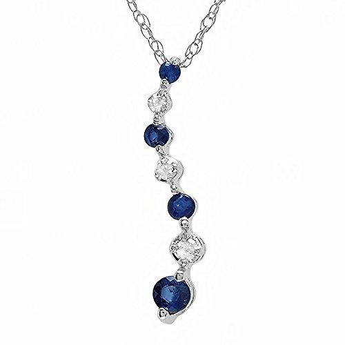 10K White Gold Round White Diamond & Blue Sapphire Ladies Graduating Journey of Life (Sapphire Journey Necklace)