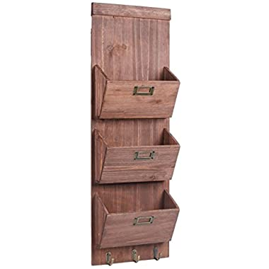 Dwellbee Rustic Wood Wall Storage and Mail Sorter with Key Rack, 3-Tier (Pine Wood)