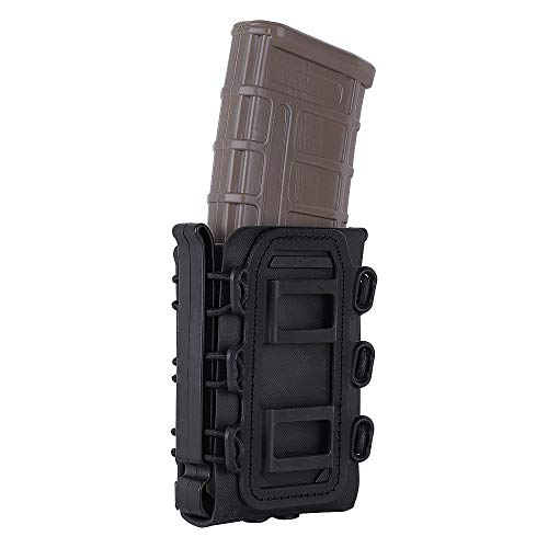 KRYDEX 5.56mm 7.62mm Mag Pouch M4 Rifle Magazine Pouch Tactical Softshell Mag Carrier Hunting Airsoft Gear (Black)