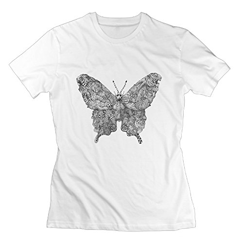 Classic-women Butterfly Tiger Tattoo Insect Tshirt Shirt. -