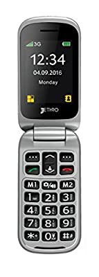 "[Father's Day Deal] [New Edition w/ Larger Battery] Jethro [SC330] 3G Unlocked Flip Senior & Kids Cell Phone, FCC/IC Certified, SOS Emergency Button, 2.4"" Large LCD with Large Keypad."