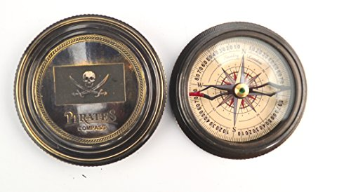 """Antique Brass Reproduction Pirates Compass with Robert Fort Poem """" the Road Not Taken"""""""
