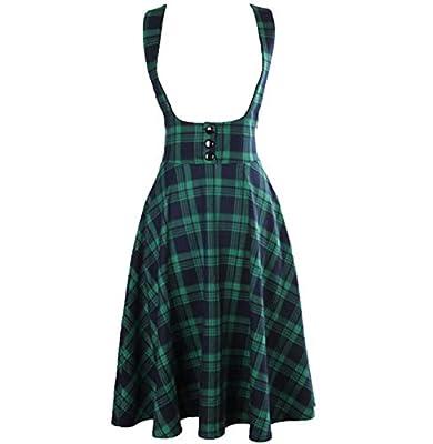 Dapigu Womens High Waist Swing Circle Suspender Skirt Tartan Plus Size Overalls