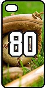 Baseball Sports Fan Player Number 80 Black Plastic Decorative iphone 4s Case