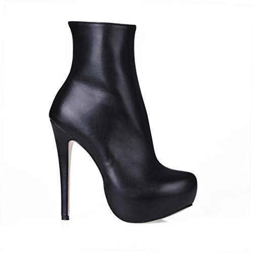 Rubber 4U Best 3CM Premium Platform High Winter 14CM Super PU Toe Comfortable Boots Round Sole Ankle Boots Heel Women's Ydrawd