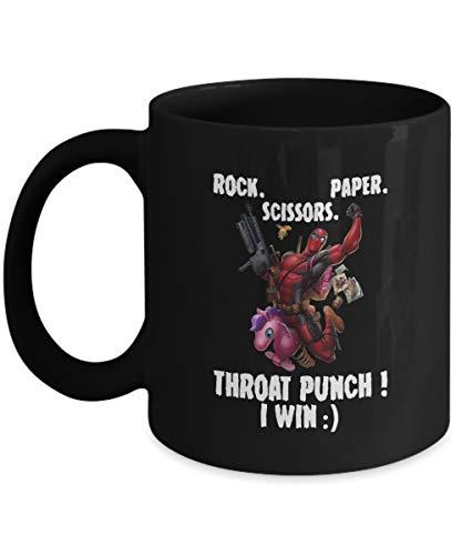 Deadpool riding unicorn rock paper scissors throat punch I win Mug Coffee Mug Gift Coffee Mug 11OZ Coffee -