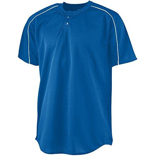 Augusta Sportswear Men's Wicking Two-Button Baseball Jersey L Royal/White ()