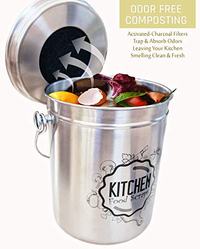 Kitchen Compost Bin Stainless Steel (Food Grade 410) Odorless Countertop Compost Pail -Bonus Charcoal Filters & Gardening Gloves. Insect-proof 1.3 Gallon bucket. Gift Boxed, and Gift Wrap available by Green Hills Health (Image #2)