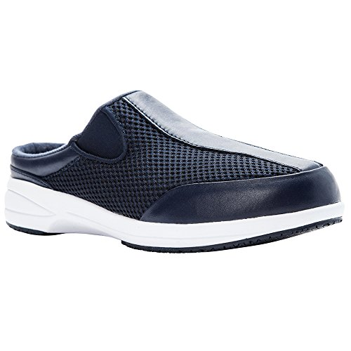 Propet Women's Washable Walker Slide Mule, Navy Mesh, 11 Wide US (Walker Shoes Washable)
