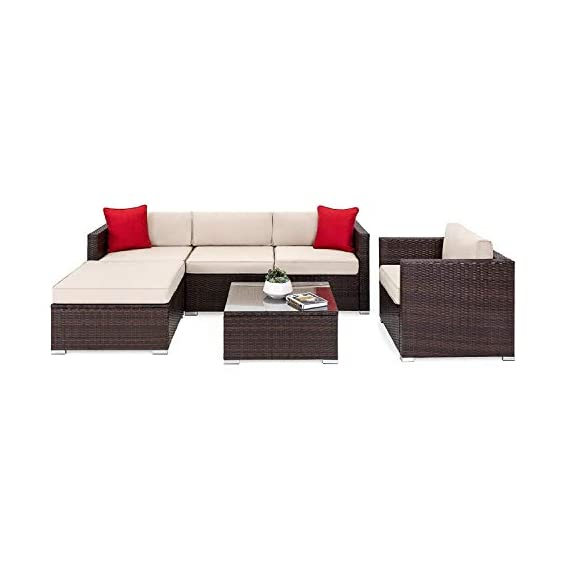 OAKVILLE FURNITURE 61106 6-Piece Outdoor Patio Furniture Rattan Sectional Sofa Conversation Set Brown Wicker, Beige Cushion - Proudly Made in U. S. A. Cushions and imported body frame with 1-year us based Manufacture . Outdoor FURNITURE set features four patio sofa chairs, ottoman and coffee Table with modular design. Easily reconfigurable to various layouts and enough room to seat 4-5 adults comfortably. - patio-furniture, patio, conversation-sets - 41jUKiNkLQL. SS570  -