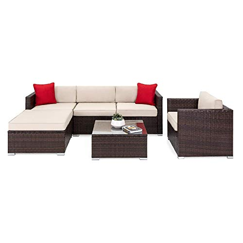 OAKVILLE FURNITURE 61106 6-Piece Outdoor Patio Furniture Rattan Sectional Sofa Conversation Set Brown Wicker, Beige Cushion