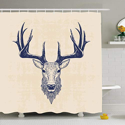 Ahawoso Shower Curtain 60x72 Inches Wildlife Stag Deer Head Vintage Christmas Sketch Tattoo Drawing Antlers Art Waterproof Polyester Fabric Bathroom Curtains Set with Hooks (Deer Toilet Tattoo)