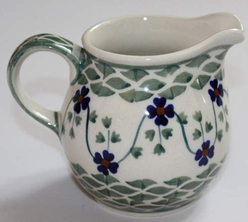(Polish Potery Blue Floral Basketweave Petite Pitcher Creamer, 4 Oz)