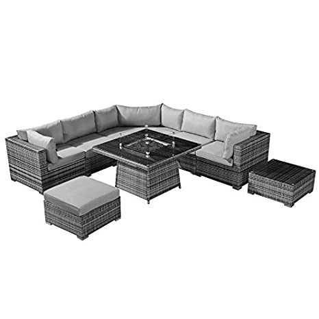 Peachy Nova Hampton Outdoor Rattan Corner Sofa Set Gas Fire Pit Ncnpc Chair Design For Home Ncnpcorg
