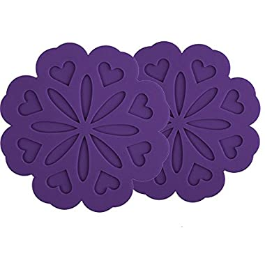 ME.LAI Silicone Pot Holders Trivet Mat Jar Opener Spoon Rest and Kitchen Trivet (Set of 2) Non Slip Flexible Durable Heat Resistant Dishwasher Safe Kitchen Trivet and Pot Pads Purple