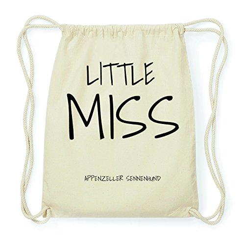 JOllify APPENZELLER SENNENHUND Hipster Turnbeutel Tasche Rucksack aus Baumwolle - Farbe: natur Design: Little Miss HQtyKxP