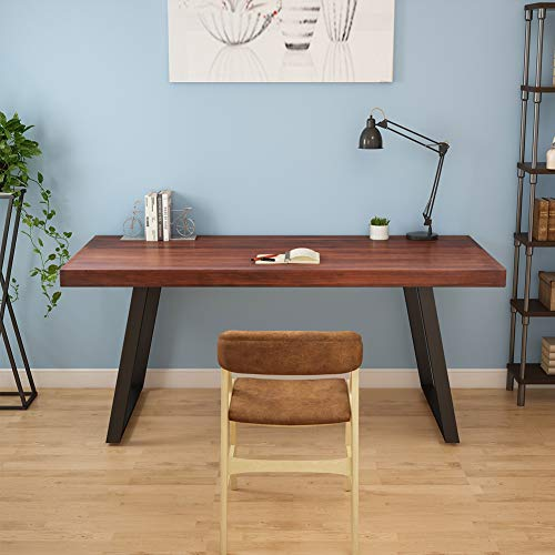 Tribesigns 55'' Rustic Solid Wood Computer Desk with Reclaimed Look, Vintage Industrial Home Office Desk Features Heavy-Duty Metal Base Works As Writing Desk or Study Table (Cherry) by Tribesigns (Image #1)