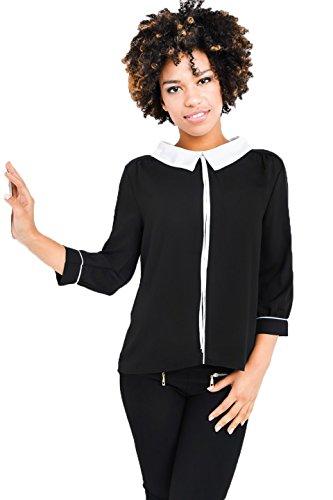 Larga Manga Mujer Para Fashion Básico Negro Túnica Camisas vtFqpI